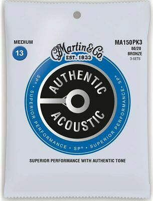 $ CDN23.33 • Buy ** 3 Sets - Martin Ma150 Acoustic Guitar Strings Medium 80/20 Bronze **