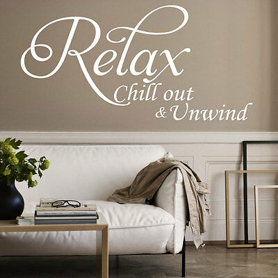 Relax Chill Large Vinyl Art Wall Sticker Quote Bedroom Bathroom Decal Decoration • 9.99£
