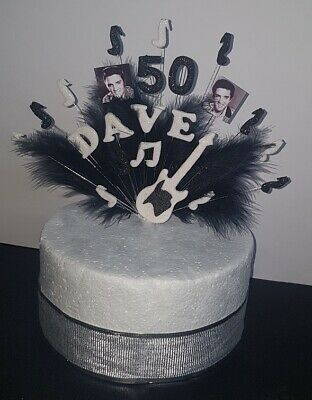 £13 • Buy  Musical Note With Feathers Elvis Birthday Cake Topper, Decoration Personalised