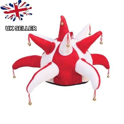 New Jester Fancy Dress Party  Rugby Stag Hen Night England Bells Hat Uk Seller • 8.99£