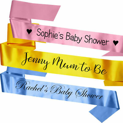 £3.95 • Buy Personalised Satin Baby Shower Party Sash Pink Blue Gift Mum To Be Decoration