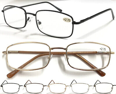 L38 Mens Square Shaped Metal Reading Glasses/Spring Hinges/Classic & Smart Look^ • 3.69£