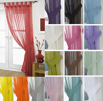 £7.75 • Buy Plain Voile Curtain Panel Tab Top – FREE Tieback - White Cream All Colours – Net
