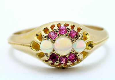 Victorian 18ct Yellow Gold Opal & Ruby Dress Ring Finger Size L • 350£