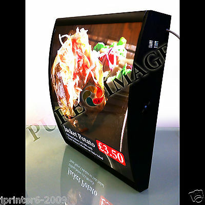 Quality LED Curved Menu Box Illuminated Board Sign Restaurant Take Away 600mm • 1,890.99£