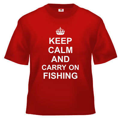 Funny Keep Calm And Carry On Fishing T Shirt 100% Cotton All Sizes And Colours • 13.49£