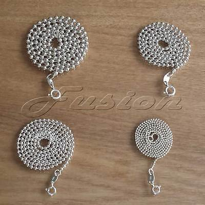 Solid Sterling 925 Silver Round Bead BALL Strong Chain Necklace Anklet Bracelet • 7.15£