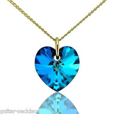 9ct Gold Heart Necklace Jewellery Set With Swarovski Crystal Pendant Charm • 28.95£