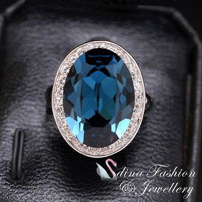 AU30.99 • Buy 18K White Gold GF Made With Swarovski Crystal Oval Luxury Large Sapphire Ring