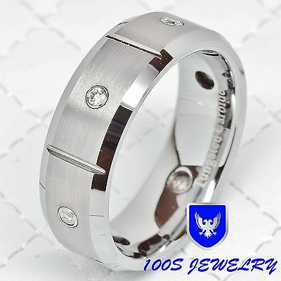 $39.99 • Buy Tungsten Ring Mens Wedding Band Silver 6 Cz Inlay Brushed Comfort Fit Size 8-16