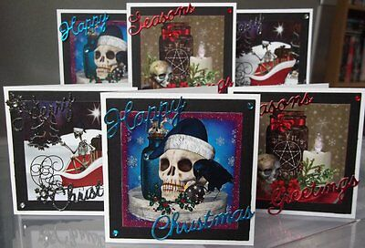 Handmade Mini Gothic Christmas Cards Set 1, A Choice Of One Or Set Of Six Skulls • 3.50£