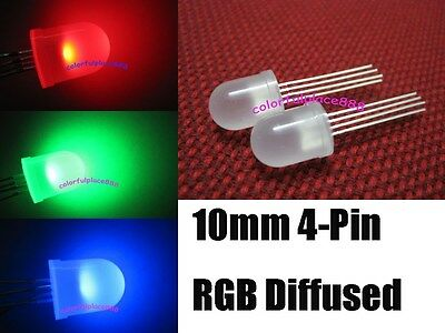 £13.78 • Buy 100pcs, 10mm 4-Pin Tri-Color RGB Diffused Common Cathode Red Green Blue LED Leds