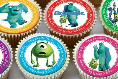24 X MONSTERS INC BIRTHDAY EDIBLE CUPCAKE TOPPERS PREMIUM RICE PAPER 7105 • 2.39£