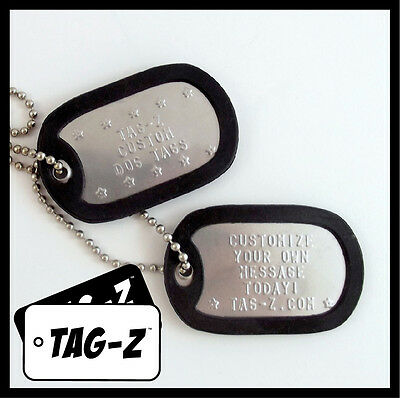 $6 • Buy Custom Embossed Military Dog Tags - Stainless Steel  - 42 Silencer Colors! Tag-Z