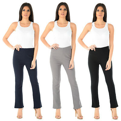 Ladies Bootleg Trousers Womens Boot Cut Stretch Ribbed Elasticated Waist Pants • 4.99£