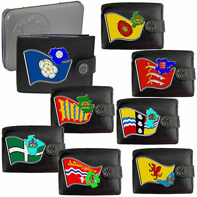 English Counties  Mens Leather Wallet  Flag Map Symbol Coat Of Arms England Dad • 12.95£