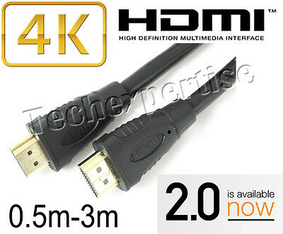 AU7.99 • Buy Premium HDMI Cable V2.0 Gold Plated High Speed 3D 4K Ultra HD 0.5m 1m 1.5m 2m 3m