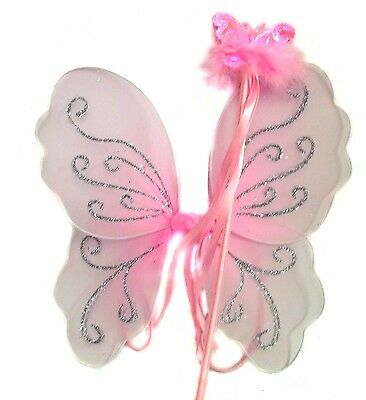 £4.99 • Buy Girls Pink Glitter Fairy Christmas Angel Wings And Shimmer Wand Fancy Dress Set