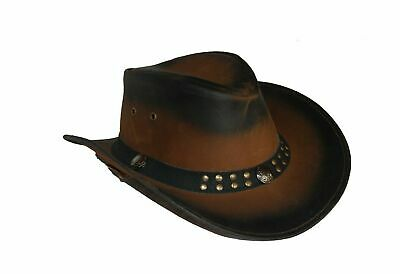 £15.89 • Buy Australian Cowboy Western Style Hat Real Leather Bush Hat With Chin Strap