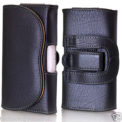 Universal Leather Belt Loop Pouch Holster Case For Mobile Phone IPhone Galaxy • 4.99£