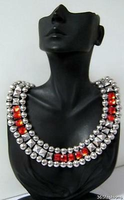 £1 • Buy  Statement Chunky Studded Crystal Grecian Egyptian Deco Necklace