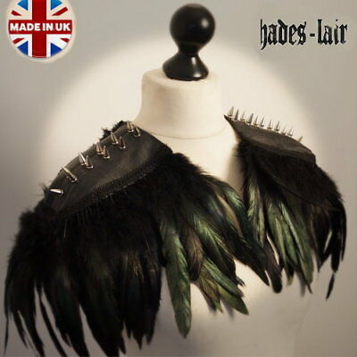 Unisex Biker Punk Studded Steampunk Jacket Feather Goth Leather Top Epaulettes  • 49.99£