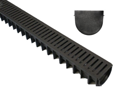 £54.99 • Buy X5 DEEP Heavy Duty Plastic Drainage Channel Plastic Grating + End Cap UK MADE