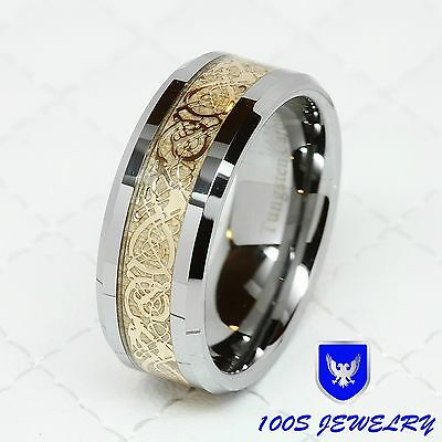 $16.95 • Buy 8MM Tungsten Carbide Gold Celtic Dragon Inlay Men's Ring Wedding Band Size 8-14