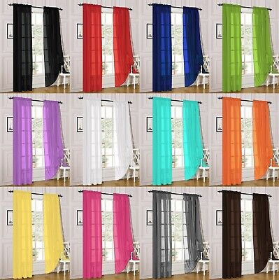 $9 • Buy 2 Piece Sheer Voile Rod Pocket Window Panel Curtain Drapes Many Sizes & Colors