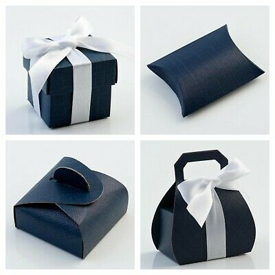 £1.79 • Buy Luxury DIY Wedding Party Favour Gift Boxes - Navy Silk Range Box Only