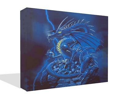 £14.99 • Buy Fantasy Blue Dragon Sitting On Skulls Canvas Print Wall Art Picture Painting