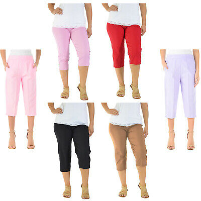 3/4 Length Womens Ladies Stretch Elasticated Waist Plain Pants Cropped Trousers • 8.95£