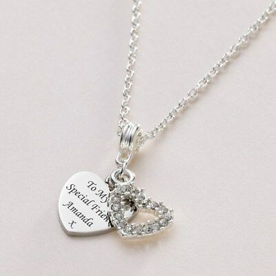 £18.99 • Buy Engraved Necklace Heart With Beautiful Crystal Heart. Personalised Jewellery