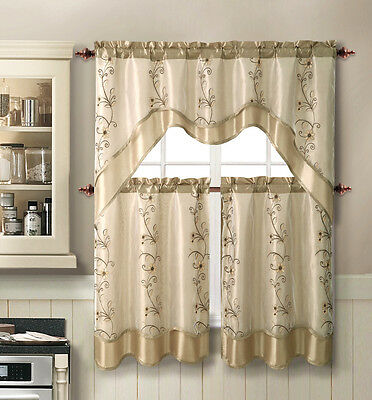 $17.99 • Buy VCNY Daphne Embroidered Kitchen Curtain Set - Assorted Colors