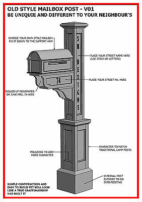 $11.99 • Buy (BUILDING PLANS) For OLD STYLE MAILBOX / LETTERBOX POST V01 - BUILD & SAVE $$$