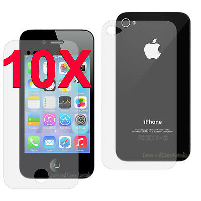 AU10.99 • Buy 10 X Clear Front And Back LCD Screen Protector For Apple IPhone 4S 4