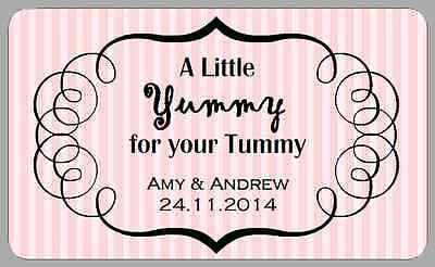 £3.40 • Buy Yummy For Your Tummy Candy Stripe Labels Wedding Sweet Cart Retro Jar Stickers