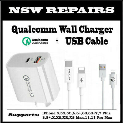AU19.95 • Buy ⚡FAST Charge Dual USB Wall Charger QC 3.0 PD Cable For IPhone X 11 12 IPad 7 8⚡