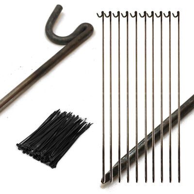 £25.99 • Buy 10 X STRONG METAL FENCING ROAD PINS STAKES POSTS & 100 CABLE TIES, TEMP FENCING