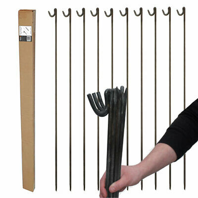 £24.99 • Buy STRONG METAL STEEL BARRIER FENCING PINS ROAD PINS STAKES POST 10mm X 1.25m 10 Pk