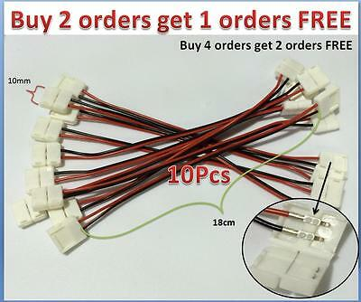 $6.50 • Buy 10x 10mm 2 Pin Connector Wire Cable 18cm For 5050 Single Color LED Light Strips