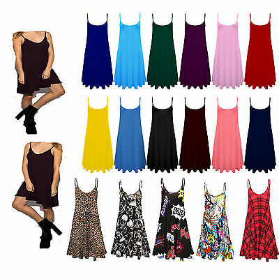 £6.99 • Buy Ladies Camisole Cami Flared Skater Womens Strappy Vest Top Swing Mini Dress 8-26