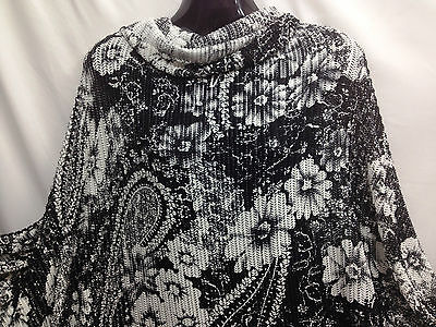 Quality Designer Floral Paisley Stretch Jersey Crochet Lace Fabric 62 *FREE P&P* • 6.75£