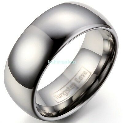 $11.99 • Buy 8mm Polished Comfort Fit Dome Tungsten Carbide Ring Men's Engagement Bands