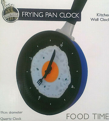 Clock In Frying Fry Pan Egg Omelet For Wall Decor - Blue Back ** GREAT GIFT **  • 9.99£