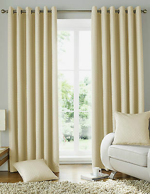 Eyelet Curtains Ready Made Ring Top. Solitaire Cream • 35.99£