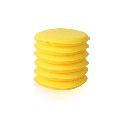 6 X Round Foam Sponge Applicator Pads PTFE Polishing, Carnauba Waxing, Valeting • 3.95£