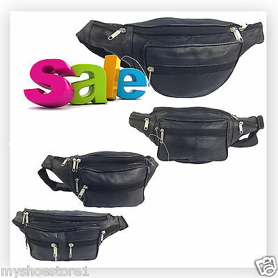 Real Leather Bum Bag Waist Money Wallet Travel Holiday Change Pouch Belt Pockets • 4.99£