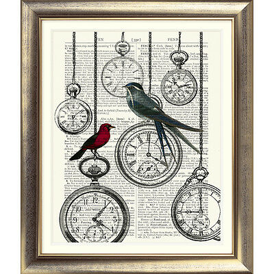 ART PRINT ON ANTIQUE BOOK PAGE Shabby Chic Bird Watches CLOCKS DICTIONARY ART • 7.50£