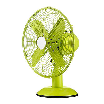 Desk Fan Green Metal Oscillating Table Fan Electric 3 Speed Fan Blower Cooler • 44.99£